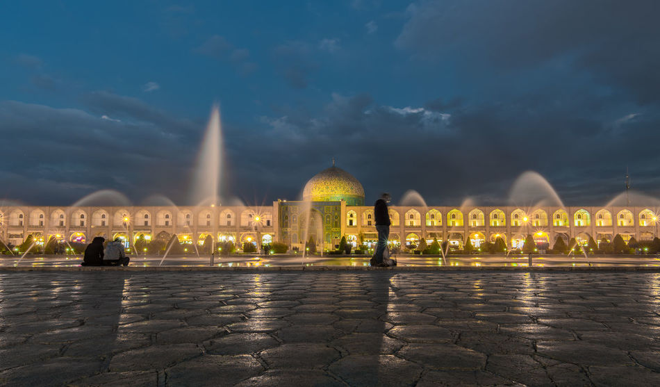 Architecture Built Structure Cityscape Dome Esfahan Fountain Illuminated Iran Isfahan Islam Islamic Architecture Light Effect Long Exposure Mosque Naqsh-e Jahan Sq Night Outdoors Place Of Worship Public Square Religion Religious Architecture Sky Travel Travel Destinations Water