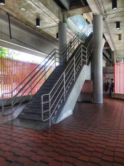 Stairs Stairs Geometry Metrorail Metro Rail Station Illuminated Multi Colored Architecture Built Structure Stairway
