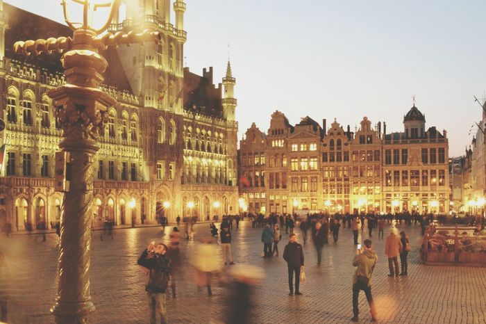 Travel Destinations Cultures Architecture City Sunset Building Exterior History Outdoors People Cityscape Brussels Grand Place Bruxelles Grand Place