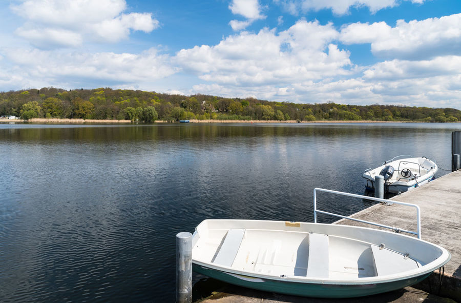 Beauty In Nature Boat Day Daytime GERMANY🇩🇪DEUTSCHERLAND@ Lake Lake View Nature No People Outdoors Pedal Boat Reflection Scenics Schwielowsee Sky Sky And Clouds Tranquil Scene Tranquility Tree Water