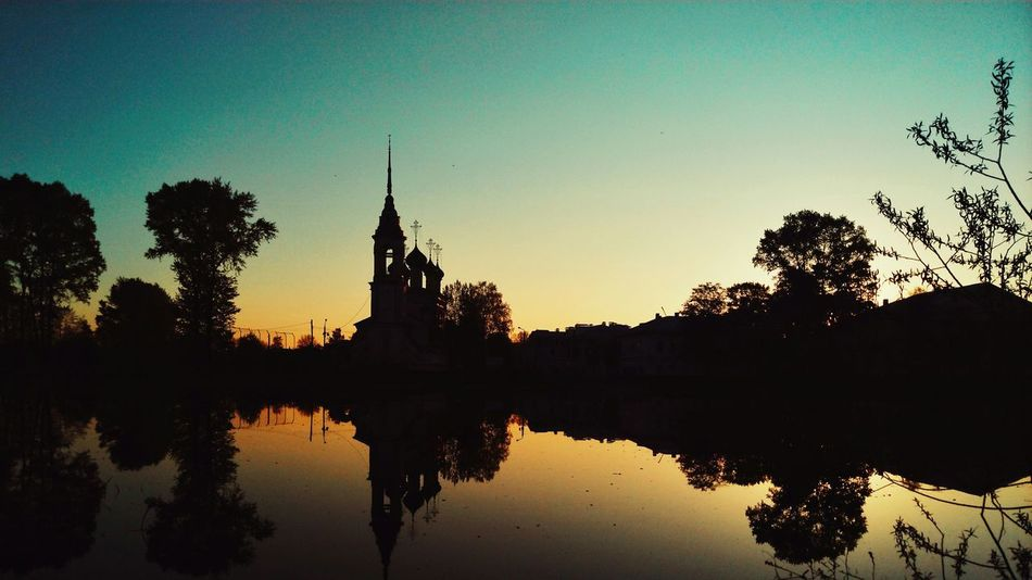 Mobilephotography Tree Water Sunset Silhouette Reflection Lake Sky Church Pagoda Cathedral
