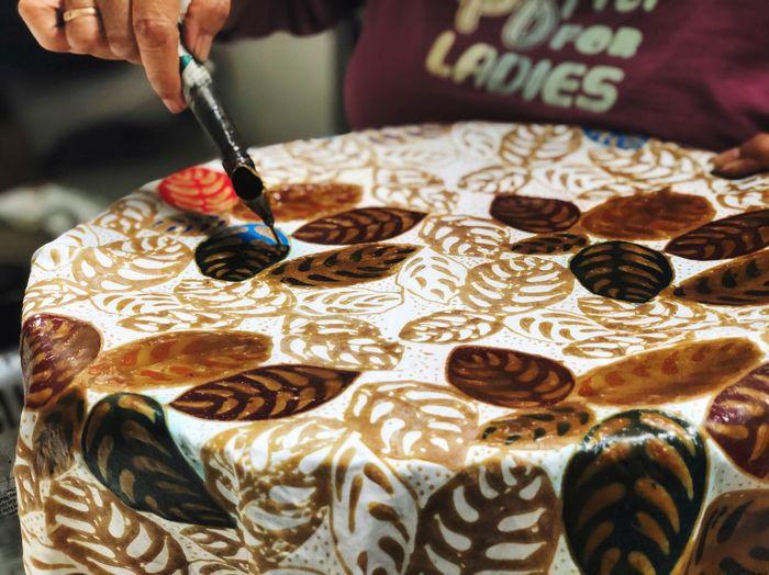 Batik Batik Pattern Batik BatikIndonesia BatikIndonesia Human Hand One Person Hand Real People Human Body Part Indoors  Skill  Creativity Art And Craft Close-up Pattern