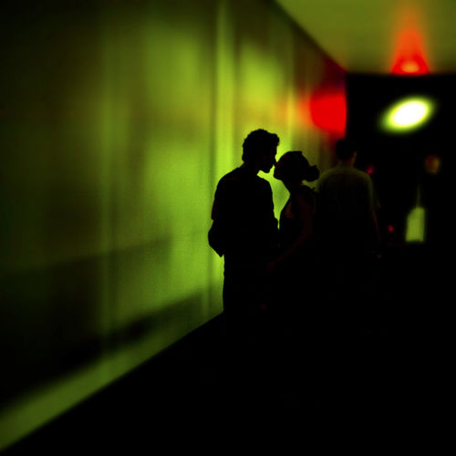 Silhouette couple kissing at night