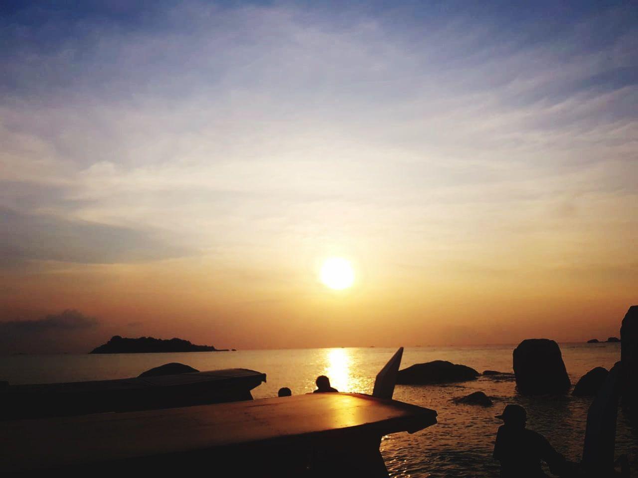 water, sky, sea, scenics - nature, sunset, beauty in nature, sun, tranquil scene, tranquility, silhouette, nature, idyllic, rock, sunlight, land, beach, orange color, horizon, horizon over water, no people, outdoors, bright