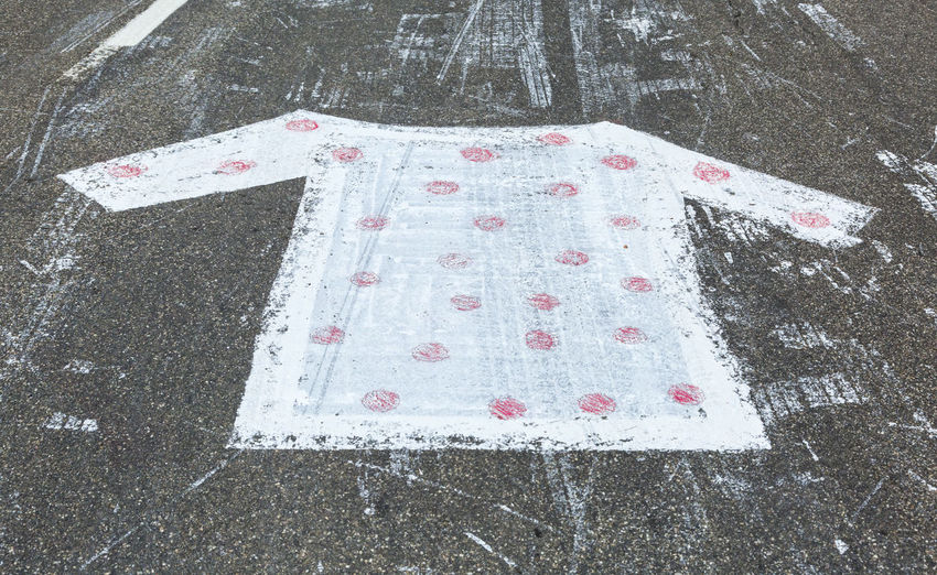 Polka Dot Jersey painted on a road during Le Tour de France. High Angle View Street Close-up Polka Dot Polka Dot Jersey Tour De France Road Climber Climber Jersey Asphalt Asphalt Road Painted On The Road Painted On The Asphalt Cycling Tour De France Cycling Backgrounds
