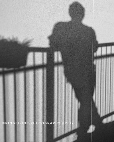 Shadow on the wall. Shadow One Person Standing Real People Outdoors Hello Word Photography Black And White Portrait Fooling Around ^_^ Snapseed Taking Photos Silhouette