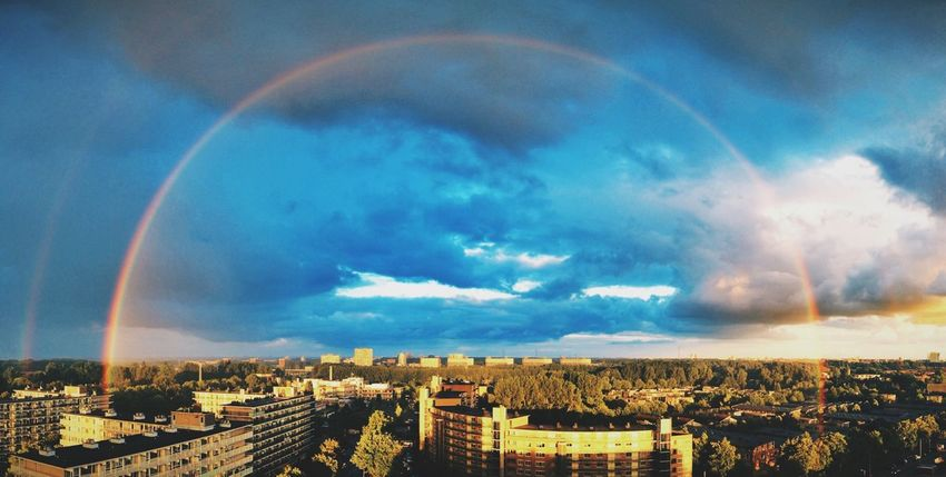 Let it rain! Rainbows A Beautiful Day Skyline Clous And Sky