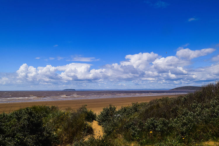 Sky Land Plant Nature No People Day Non-urban Scene Outdoors Landscape Landscape Photography Blue Sky Steep Holm Scenics - Nature Beauty In Nature Tranquil Scene Tranquility Cloud - Sky Water Tree Sea Blue Idyllic Environment