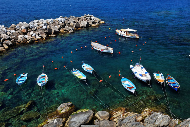 High angle view of boats moored on sea