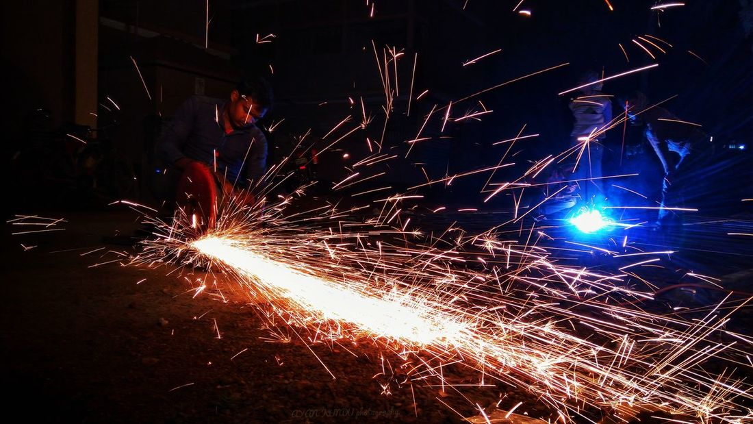 The heard working man Metal Industry Occupation Heat - Temperature Industry Illuminated Night Skill  Factory Welder People Manual Worker Only Men Protective Workwear One Person Arts Culture And Entertainment Indoors  Adult Adults Only EyeEmNewHere
