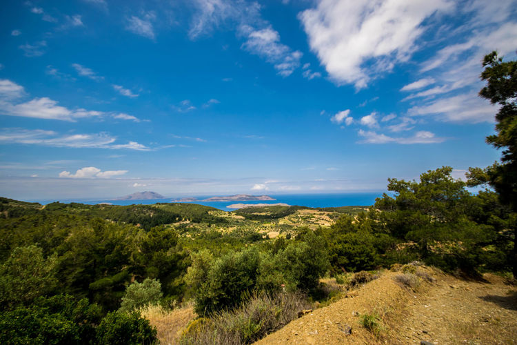 Beautiful Beauty In Nature Blue Cloud - Sky Day Greece Growth Landscape Mountain Nature No People Outdoors Rhodes Rhodos Scenics Sky Tranquil Scene Tranquility Tree Water