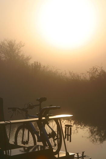 Beauty Bicycle Boat Life Canals And Waterways EyeEmNewHere Fog Kennet And Avon Canal Liveaboard Mist Narrowboat Nature Sunset Tranquil Scene Tranquility