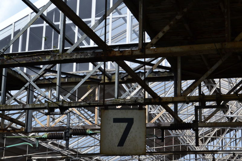 Lucky 7. Architecture Architecturaldesign Architecturalglass Almostblackandwhite Buildings Roof Lightandshade Geometry Pattern Luck Numbers Triangles Triangle Railway Station Stations Arrival Travel Railway Crewe Gateway Transportation Business Finance And Industry