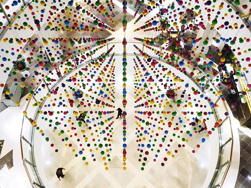 Beneath the coloured balls, Macquarie Centre. Sydney Streetphotography Open Edit IPhoneography