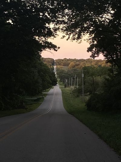 Empty road amidst trees against sky during sunset