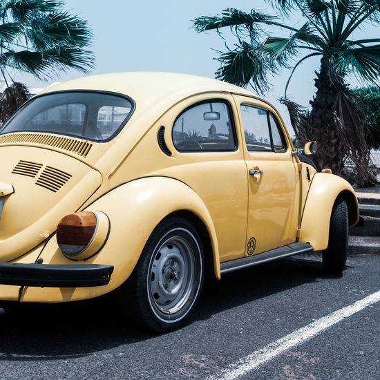 Beach Bug Photography Photograph EyeEm Selects Lanzarote Yellow Taxi Stationary Retro Styled Car Old-fashioned Street Collector's Car Vintage Car Bumper Parking Vehicle Land Vehicle Road Marking Parking Lot Taxi The Traveler - 2018 EyeEm Awards Summer Road Tripping