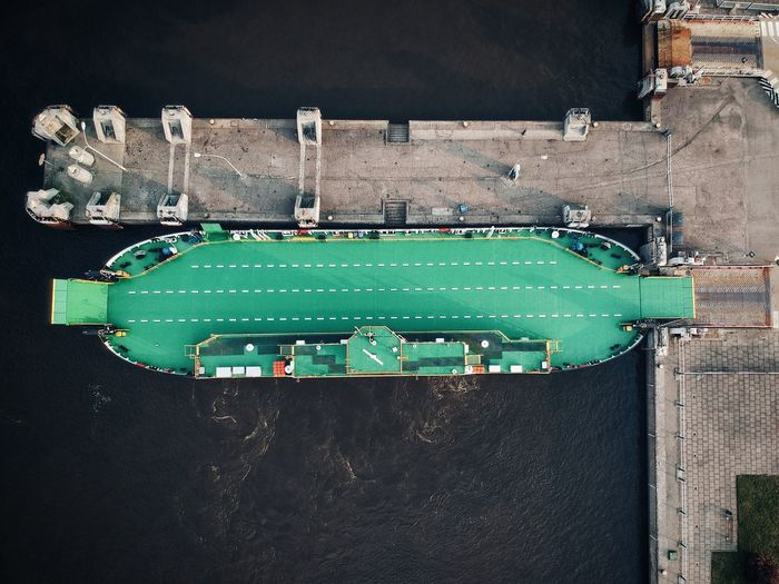 An empty ferry from above Smiltynė Klaipeda Ferry No People Green Color Sport Architecture Built Structure High Angle View Absence Nature Water Outdoors City Transportation Empty