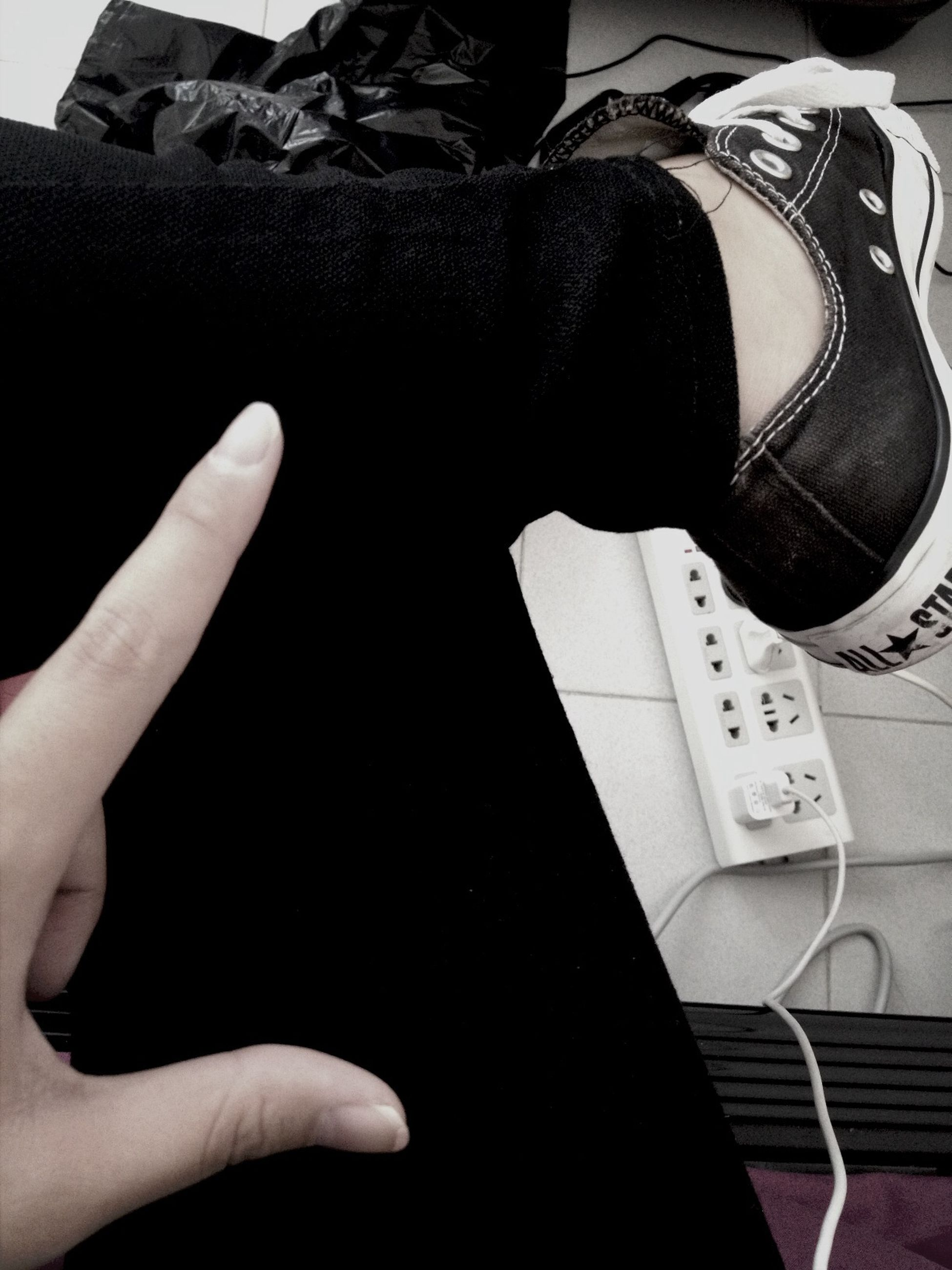 person, part of, low section, indoors, personal perspective, lifestyles, cropped, men, high angle view, holding, shoe, leisure activity, unrecognizable person, human finger, close-up, human foot