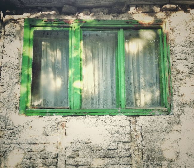 Old Window Very Old House Oldfashioned Bosnia Building Style  Green Window Bright Wall Not In Line Look Into The Past Still Living