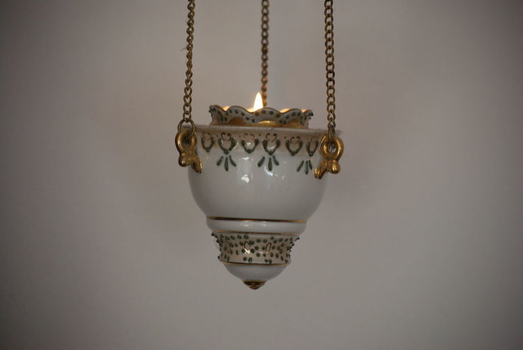 Art And Craft Ceiling Chain Close-up Craft Gold Gold Colored Gray Gray Background Hanging Indoors  Jewelry Luxury Metal Necklace No People Ornate Pendant Personal Accessory Studio Shot Wall - Building Feature Wealth