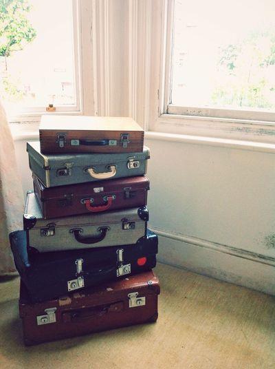 Vintage vibe Vintage Vintage Suitcases Vintage Suitcase Retro Retro Old Suitcase Vintage Feel Piled Up Windows Indoors