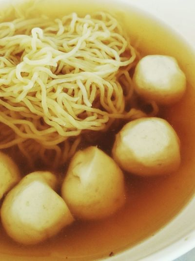 Close-up of served noodles in bowl