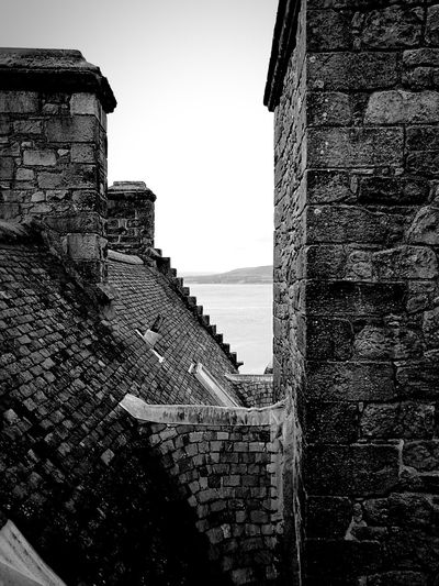 Black And White Castle Chimneys Masonry View