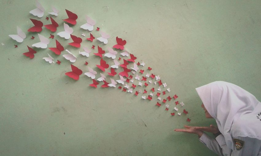 Butterfly Red White Beauty In Nature Creativity Paper Art INDONESIA First Eyeem Photo