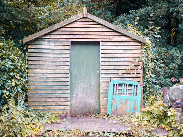 An old wooden shed with a green painted door and discarded gate leaning on the wall surrounded by trees and woodland with weeds growing on the ground Gate Green Rural Rustic Trees WoodLand Build Structure Building Exterior Door Doorway Outbuilding Painted Image Peeling Off Rural Scene Shed Wooden