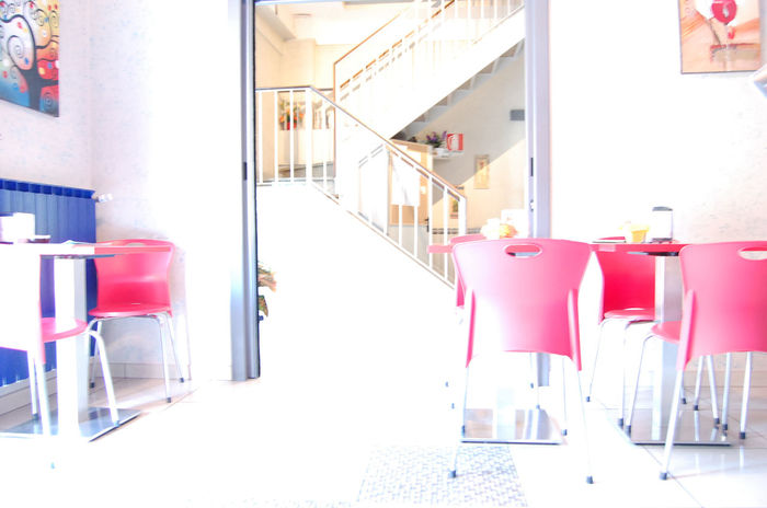A morning with the sun 2015  Albergo Bar Brakfasttime Breakfast Caffè Chair Coffee Colazione Cornetto Estate Hotel Milan Milano Red Rosso Scala Sedia Sole Stairs Summer Sunset Adapted To The City