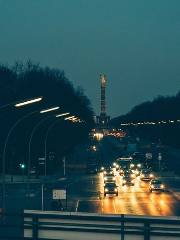 Siegessäule  Victory Column Berlin Illuminated Night Transportation Road Built Structure Land Vehicle Architecture Clear Sky Sky City