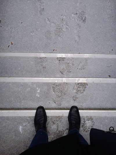 Light Snow in Hamburg. · Germany Leaving Home That's Me! Feetselfie Concrete Stairs Winter Minusdegrees