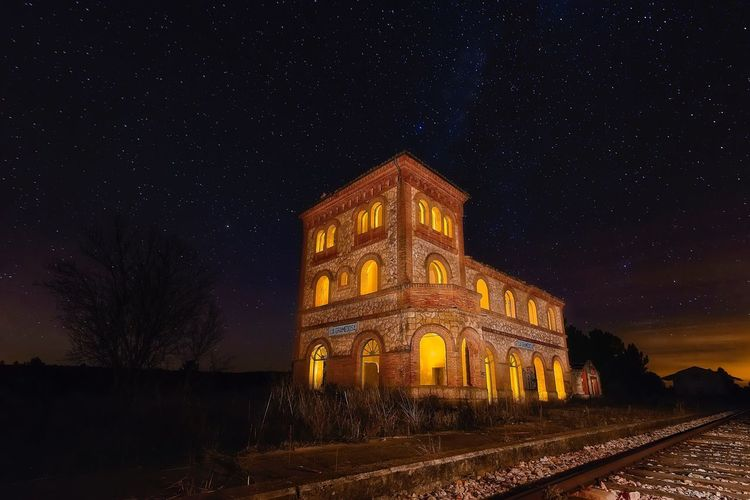 The old station Night Illuminated Sky Outdoors Travel Destinations Building Exterior No People Architecture Stars Miles Away EyeEmNewHere Colour Your Horizn Capture Tomorrow My Best Photo