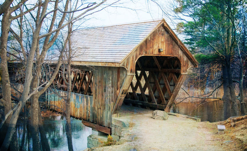 Architecture Bare Tree Bridge - Man Made Structure Built Structure Covered Bridge Historic New England  New Hampshire Old Outdoors River Run-down Tree Water