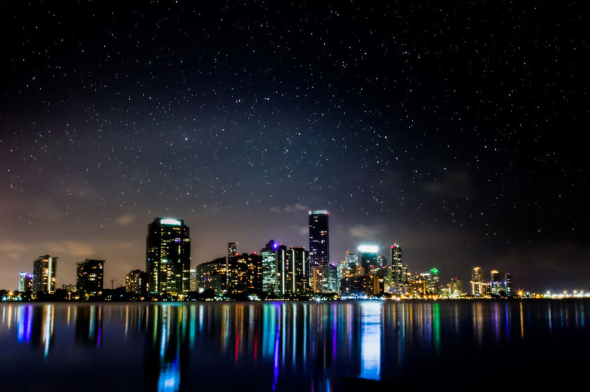 Astrophotography City City Life Cityscapes Long Exposure Miami Ocean Skyline Stars Citiesatnight Cities At Night HUAWEI Photo Award: After Dark