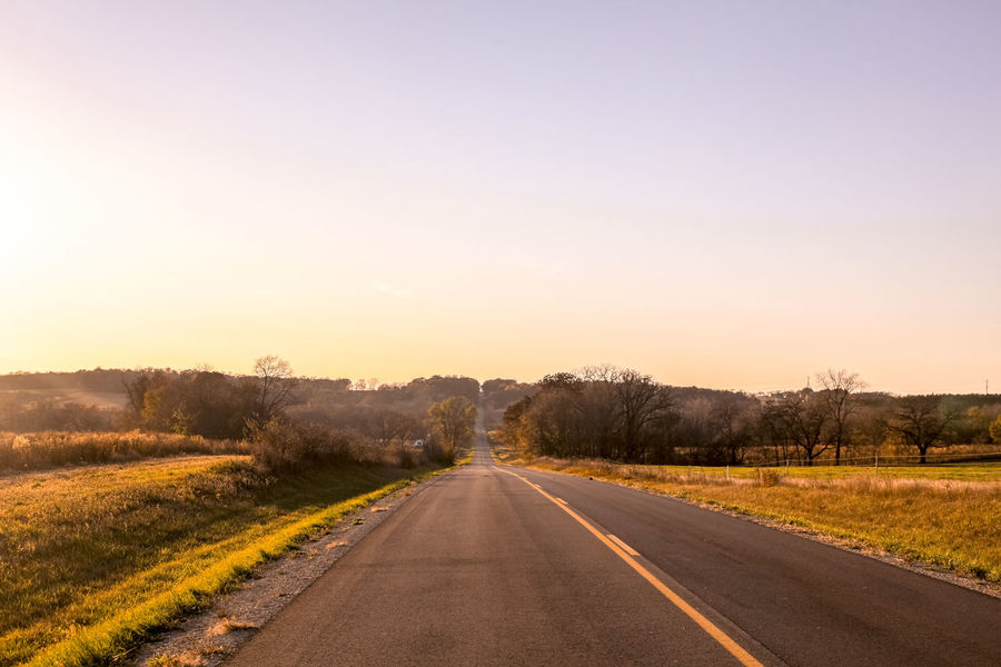 Road Asphalt Bare Tree Beauty In Nature Clear Sky Day Landscape Nature No People Outdoors Road Rural Scene Scenics Sky Sunlight Sunset The Way Forward Tranquil Scene Tranquility Transportation Tree Yellow