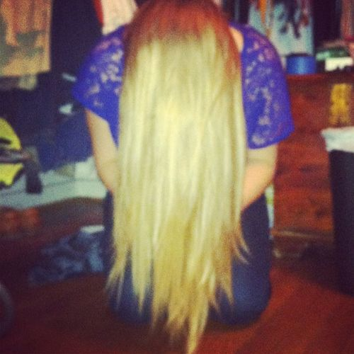 ? Long hair don't care Funny Messing Around Blonde cute haircut time newyears fun silly lace shirt ?