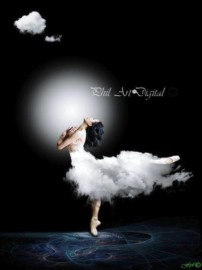 Artdigital Women Fantasy Photoshop My Artwork Surrealist Art Clouds Black Background Full Length Motion Skill  Agility Ballet Ballet Shoe Ballet Studio Grace Dancer