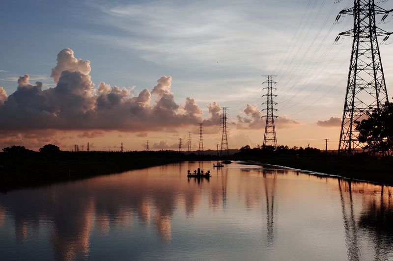 Taking Photos Cloud - Sky Water Outdoors Tranquility Reflection Scenics Electricity Pylon Tranquil Scene Lake No People Sunset