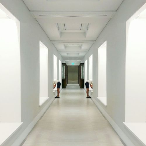 Indoors  Walking Architecture Corridor Symmetry Built StructureUrban One Person Mirror EyeEm Phillipines Clean Lines The Week On EyeEm