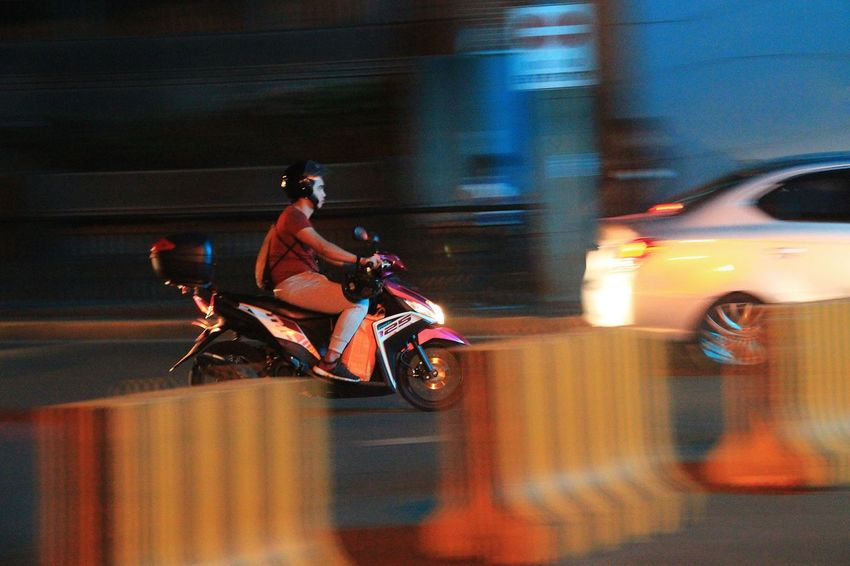 Street Panning Blurred Motion Panning Shoot Panningphotography Land Vehicle Speed Transportation Mode Of Transport Motorcycle One Person Real People Men Motion One Man Only Illuminated Only Men Adult