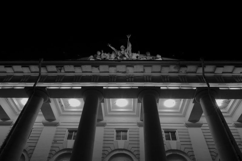 Night views from Saint Petersburg. Russia. Black & White Façade Historical Building Historical Monuments Sony A350 Architectural Column Architectural Detail Architecture Black And White Black And White Photography Building Exterior Illuminated Low Angle View Night Old Buildings Outdoors Sculpture Statue Symmetrical Symmetry Travel Destinations Colour Your Horizn
