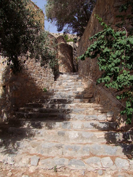 Walkway, Monemvasia Architecture Blue Sky Calmness Composition Full Frame Greece Monemvasia No People Outdoor Photography Quaint  Quaint Perspective Steps Stone Steps Stone Walls Street Sunlight And Shadow Tourism Tourist Attraction  Tranquility Trees Walkway