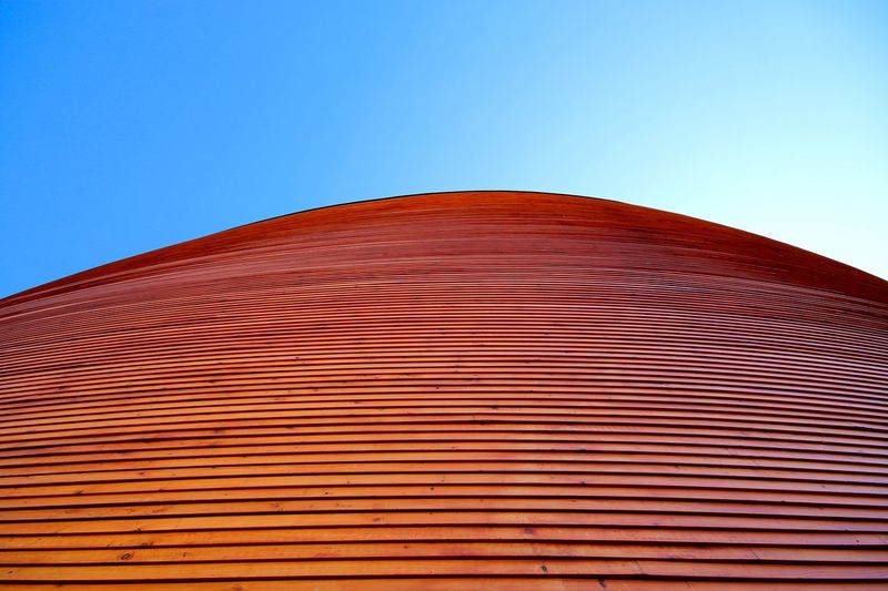 Kamppi Chapel of Silence Low Angle View Clear Sky Architecture Blue No People Red Travel Destinations Day Built Structure Outdoors Modern Building Exterior Close-up Sky Kamppi Chapel Helsinki,finland Europe Chapel