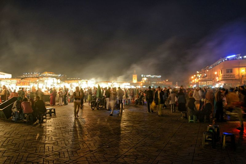 Crowd in night market at town square