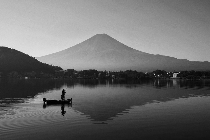 Japan Photos Mt.Fuji Fuji Fuji Mountain Lake View Mountain Water Nature Reflection Lake Tranquility Outdoors Scenics Beauty In Nature Silhouette Sky Tranquil Scene Men Real People Bnw_life Bnw Blackandwhite Nautical Vessel Streamzoofamily Black And White Friday