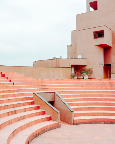 Monte Amiata Housing Milan Italy Concrete Modernism Carlo Aymonino Red Steps And Staircases Steps Staircase Railing Architecture Sky Built Structure Building Exterior