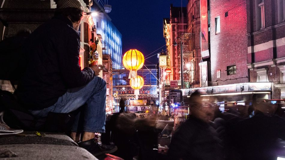 Nightlife in Chinatown London. Real People Building Exterior City Illuminated Built Structure Group Of People Night Men Leisure Activity Architecture Outdoors Large Group Of People Sky Crowd Chinatown London Light Night City