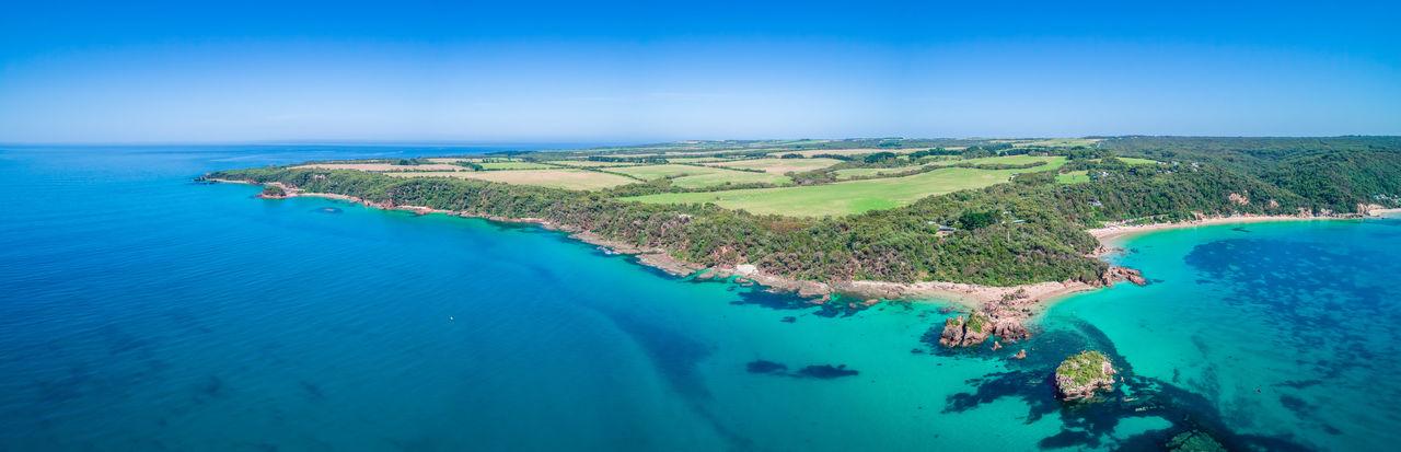 Walkerville fishing village ocean coastline - scenic aerial panorama