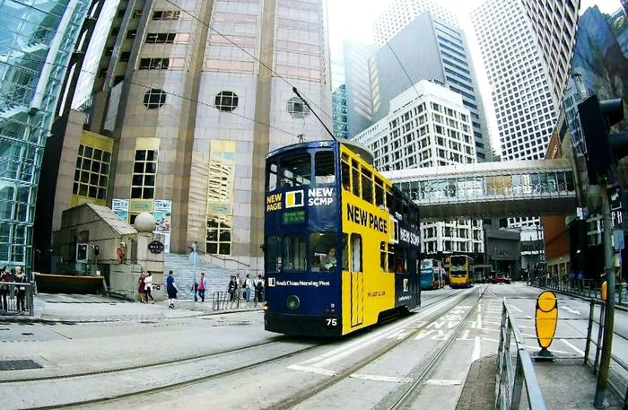 The tram ride at Central, Hong Kong- April 2018 Summer Exploratorium City Skyscraper Public Transportation Railroad Track Modern City Life Business Finance And Industry City Street Architecture Building Exterior Summer Exploratorium Adventures In The City Focus On The Story My Best Travel Photo A New Beginning